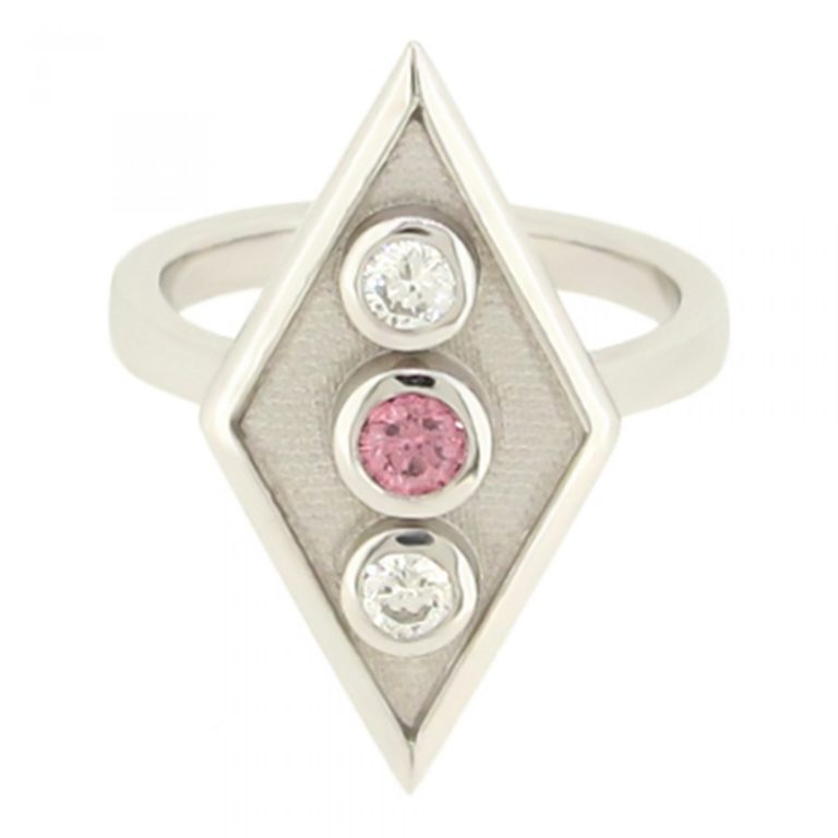 Diamond shaped pink diamond ring