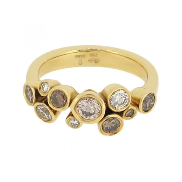Scattered champagne diamond ring