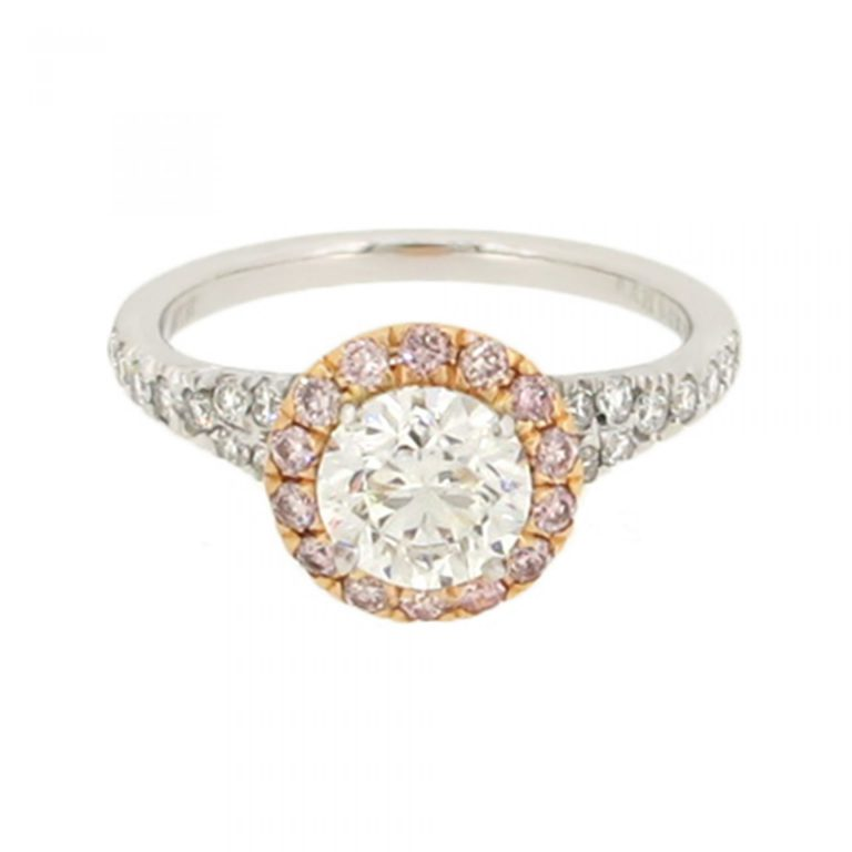 Engagement Ring with Pink Diamond Halo