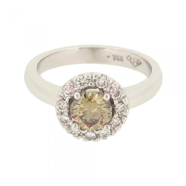 Champagne Diamond Halo Ring