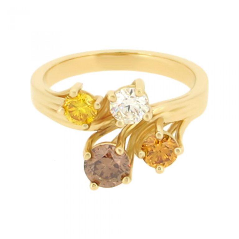 Creative Multi Coloured Diamond Ring