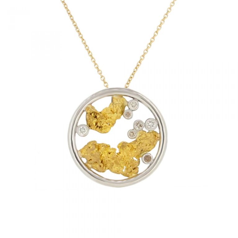 Nugget and Diamond Pendant