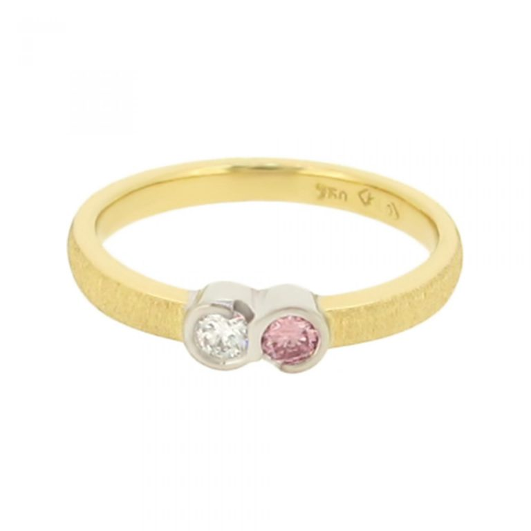Petite Pink and White Diamond Ring