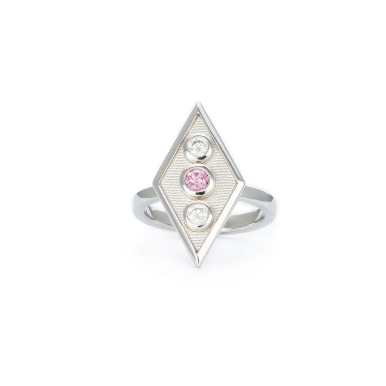 Diamond shaped pink diamond ring