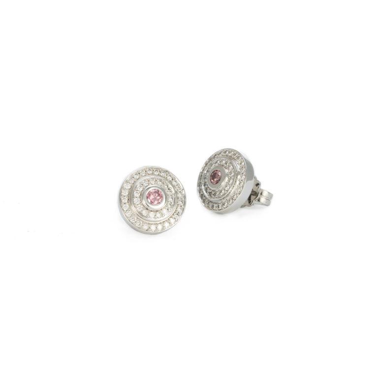 Modern clean lines pink earrings
