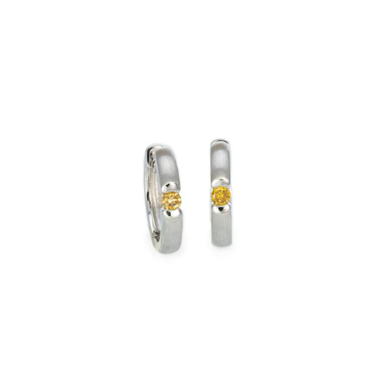 Fancy Yellow Orange White gold Hoop earrings