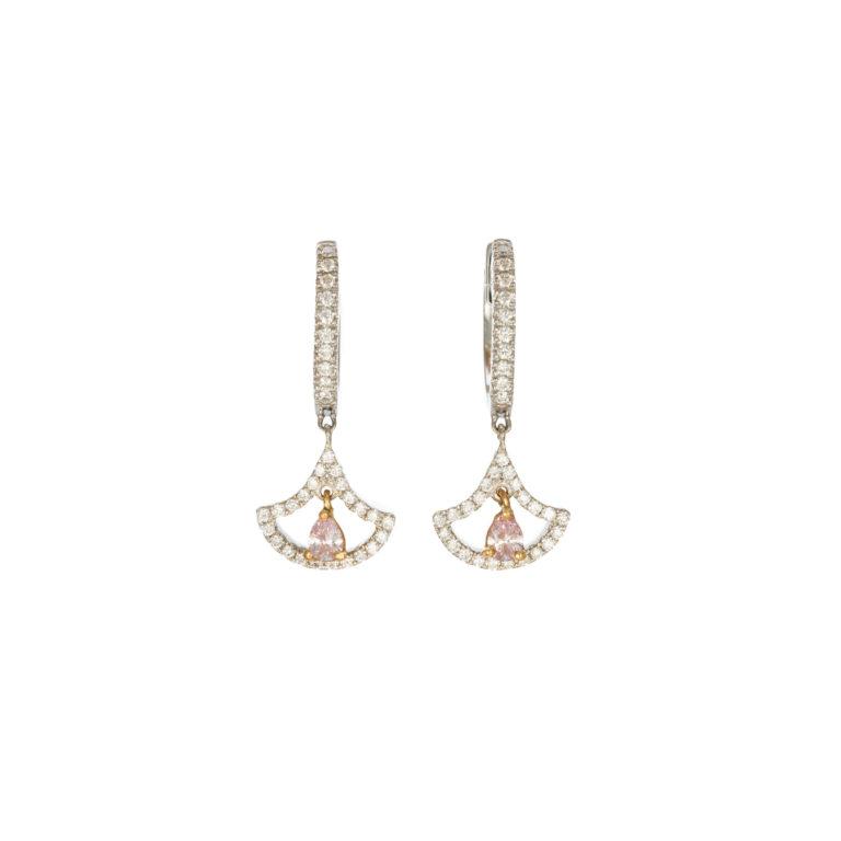 Drop earrings with pink diamond pear shape