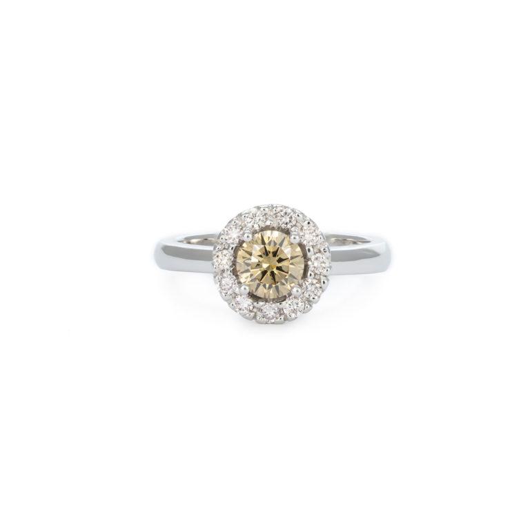 Champagne Diamond Halo Ring