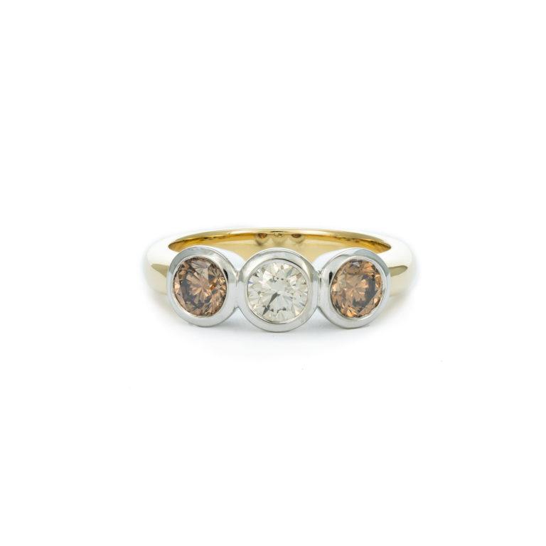 Champagne Diamond Trilogy Ring