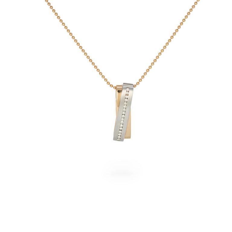 White and Rose gold striking pendant
