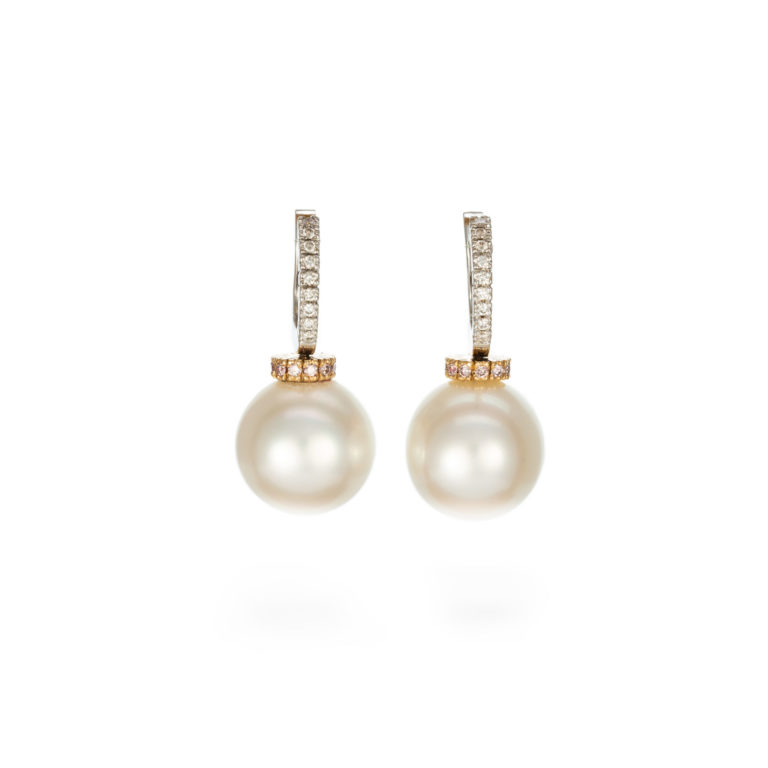 South sea pearl with pink diamond earrings