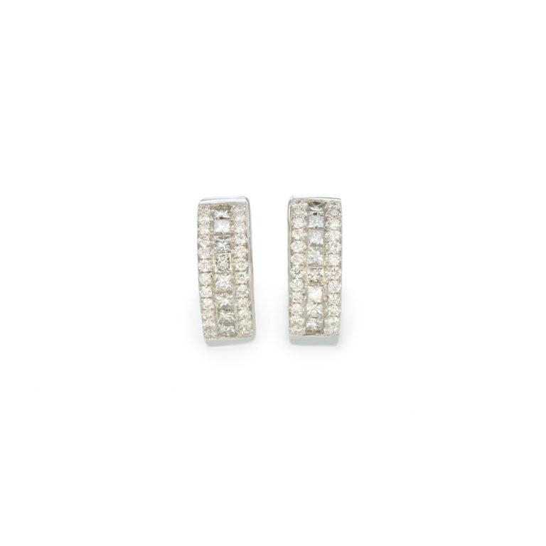Classic White diamond Hoop earrings