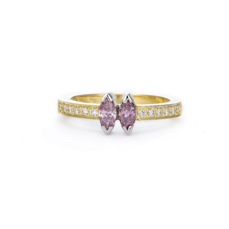 Matching marquise pink diamond ring