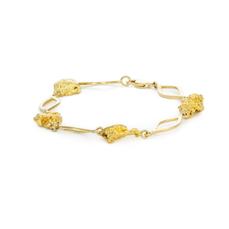 Natural nugget Yellow gold bracelet