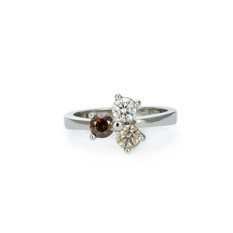 Three Tone Champagne Diamond Ring