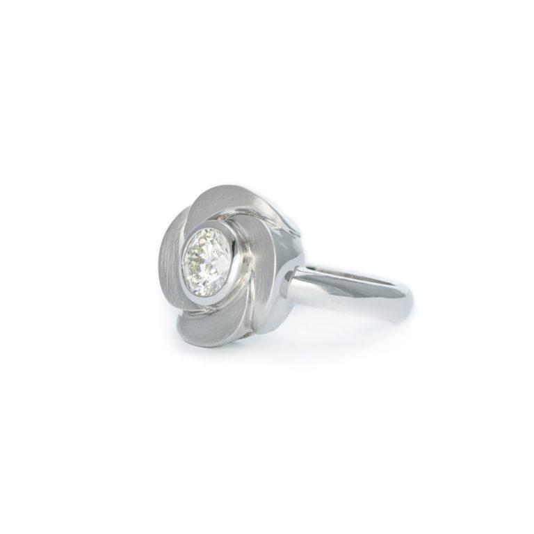 Large Diamond Flower Ring