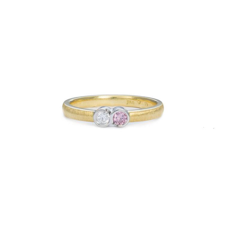 Petite Pink and White Diamond Ring