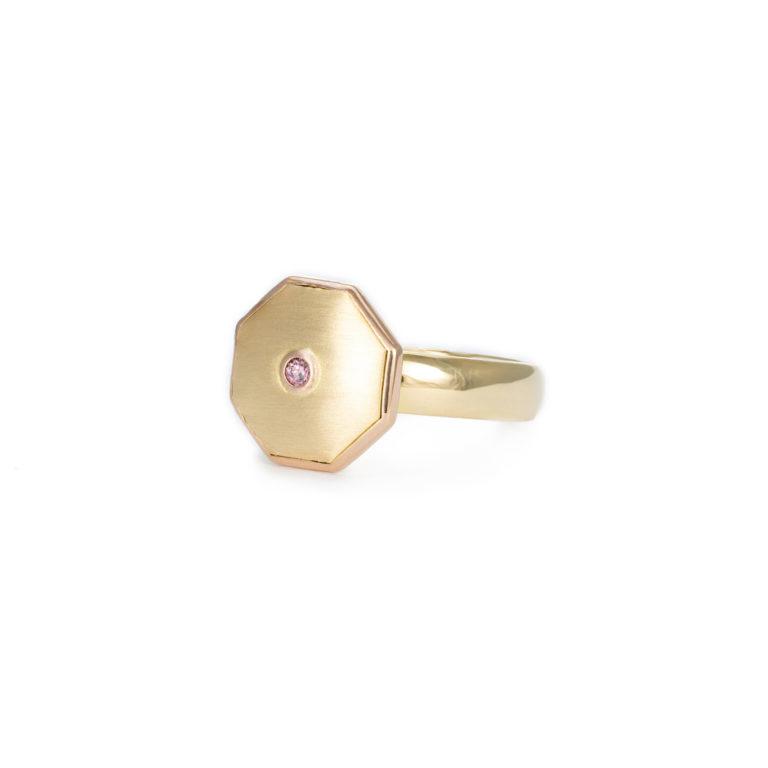 Hexagon Pink Diamond Ring